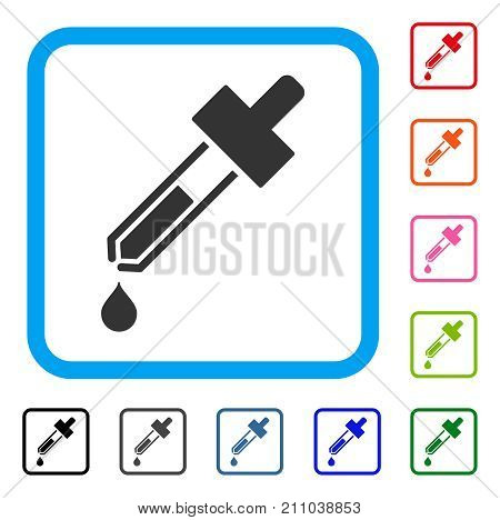 Dropper icon. Flat gray pictogram symbol inside a light blue rounded rectangle. Black, gray, green, blue, red, orange color variants of Dropper vector. Designed for web and application UI.