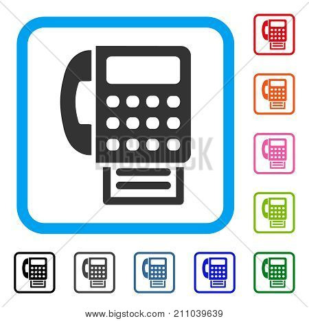 Fax Machine icon. Flat gray pictogram symbol in a light blue rounded rectangle. Black, gray, green, blue, red, orange color additional versions of Fax Machine vector.