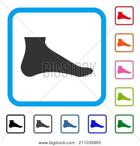Foot icon. Flat grey pictogram symbol inside a light blue rounded frame. Black, gray, green, blue, red, orange color variants of Foot vector. Designed for web and app user interface.