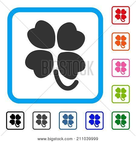 Four-Leafed Clover icon. Flat grey pictogram symbol in a light blue rounded frame. Black, gray, green, blue, red, orange color versions of Four-Leafed Clover vector.