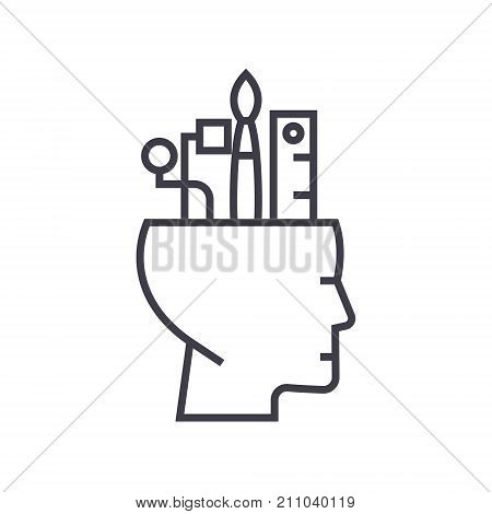 art thinking concept vector thin line icon, sign, symbol, illustration on isolated background
