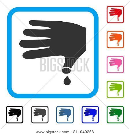 Hand Wound icon. Flat grey pictogram symbol in a light blue rounded squared frame. Black, gray, green, blue, red, orange color additional versions of Hand Wound vector.