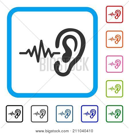 Hearing Signal icon. Flat gray pictogram symbol in a light blue rounded squared frame. Black, gray, green, blue, red, orange color additional versions of Hearing Signal vector.