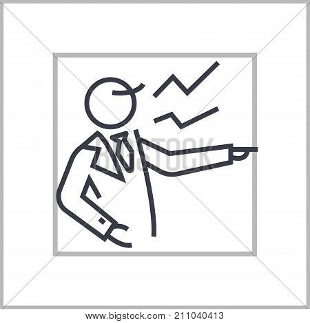 boss scream concept vector thin line icon, sign, symbol, illustration on isolated background