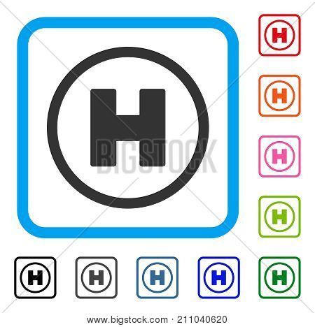 Helicopter Place icon. Flat grey pictogram symbol inside a light blue rounded frame. Black, gray, green, blue, red, orange color versions of Helicopter Place vector.