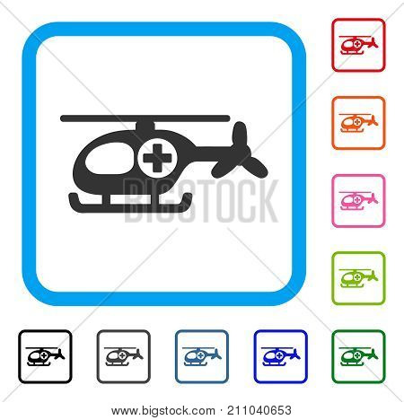 Helicopter icon. Flat grey iconic symbol inside a light blue rounded squared frame. Black, gray, green, blue, red, orange color additional versions of Helicopter vector.
