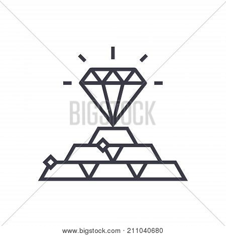 commodities concept concept vector thin line icon, sign, symbol, illustration on isolated background