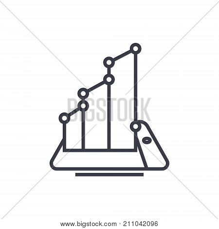 mobile smartphone growh concept vector thin line icon, sign, symbol, illustration on isolated background