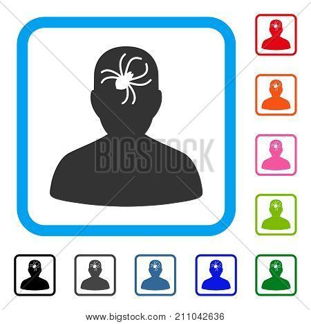 Mental Bug icon. Flat grey iconic symbol in a light blue rounded squared frame. Black, gray, green, blue, red, orange color versions of Mental Bug vector. Designed for web and app interfaces.
