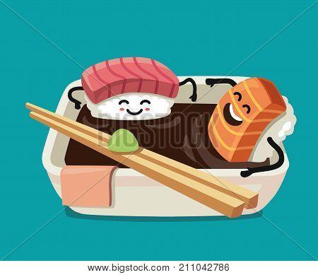 Sushi fun character in bath sauce. Vector flat illustration
