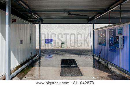 STRASBOURG FRANCE - SEP 28 2014: Empty Elephant Bleu self car wash station on French street