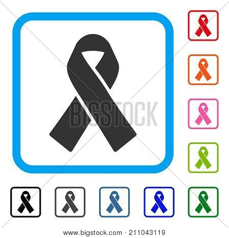 Mourning Ribbon icon. Flat gray pictogram symbol in a light blue rounded squared frame. Black, gray, green, blue, red, orange color additional versions of Mourning Ribbon vector.