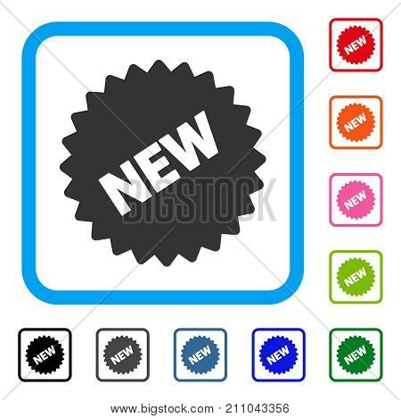 New Sticker icon. Flat gray iconic symbol in a light blue rounded rectangle. Black, gray, green, blue, red, orange color additional versions of New Sticker vector.