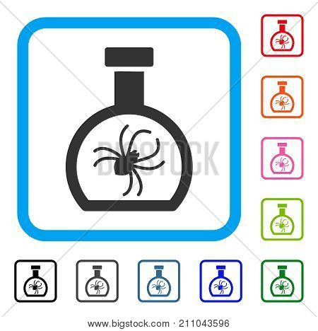 Parasite Container Retort icon. Flat grey iconic symbol inside a light blue rounded rectangle. Black, gray, green, blue, red, orange color additional versions of Parasite Container Retort vector.