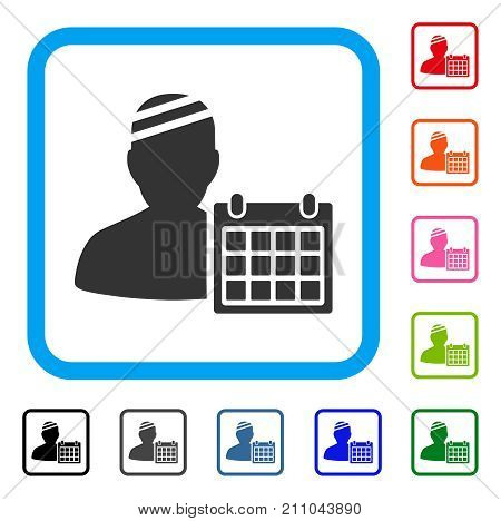 Patient Appointment Calendar icon. Flat grey iconic symbol in a light blue rounded rectangular frame. Black, gray, green, blue, red, orange color variants of Patient Appointment Calendar vector.