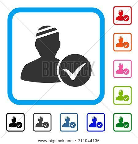 Patient Ok icon. Flat gray pictogram symbol in a light blue rounded frame. Black, gray, green, blue, red, orange color variants of Patient Ok vector. Designed for web and app interfaces.
