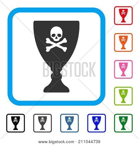 Poison Cup icon. Flat gray pictogram symbol in a light blue rounded square. Black, gray, green, blue, red, orange color versions of Poison Cup vector. Designed for web and app interfaces.