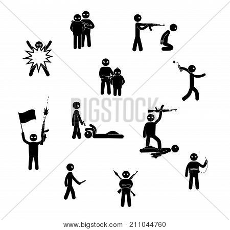 Terrorism concept. Set of terrorist people. World threat. Vector illustration