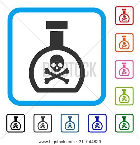 Poison Retort icon. Flat gray pictogram symbol inside a light blue rounded rectangle. Black, gray, green, blue, red, orange color additional versions of Poison Retort vector.