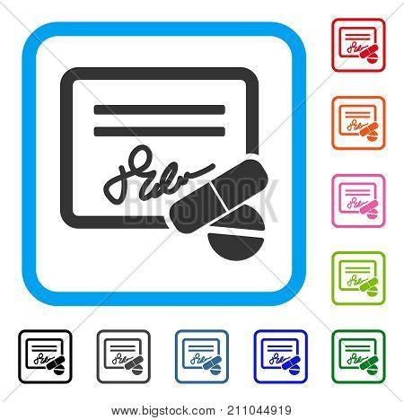 Prescription icon. Flat gray pictogram symbol in a light blue rounded rectangular frame. Black, gray, green, blue, red, orange color versions of Prescription vector.