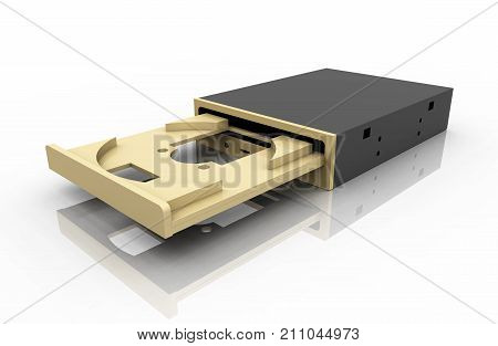Computer generated 3D illustration with a CD Rom drive against a white background