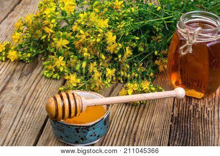 Honey in transparent glass jar and fresh St. John's wort flowers on rustic background. Studio Photo