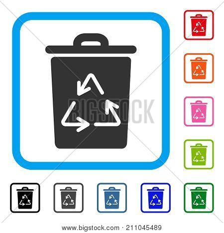 Recycling Bin icon. Flat grey iconic symbol inside a light blue rounded square. Black, gray, green, blue, red, orange color versions of Recycling Bin vector. Designed for web and app UI.