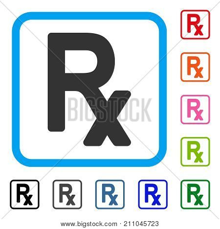 Rx Symbol icon. Flat grey pictogram symbol in a light blue rounded rectangle. Black, gray, green, blue, red, orange color additional versions of Rx Symbol vector. Designed for web and application UI.