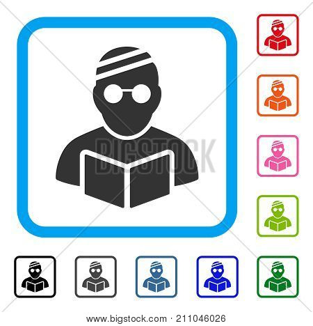 Sick Student icon. Flat gray pictogram symbol in a light blue rounded rectangular frame. Black, gray, green, blue, red, orange color variants of Sick Student vector.