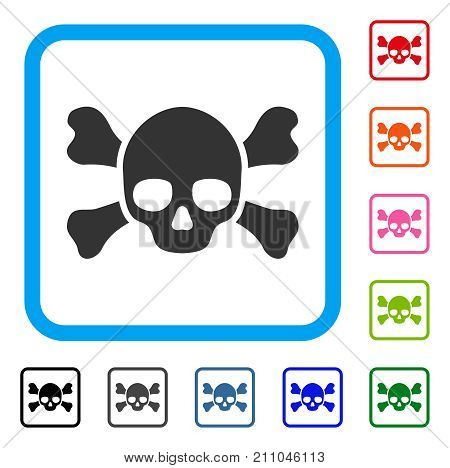 Skull Crossbones icon. Flat grey iconic symbol inside a light blue rounded square. Black, gray, green, blue, red, orange color versions of Skull Crossbones vector. Designed for web and app interfaces.