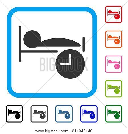 Sleep Time icon. Flat gray iconic symbol inside a light blue rounded squared frame. Black, gray, green, blue, red, orange color versions of Sleep Time vector. Designed for web and software interfaces.