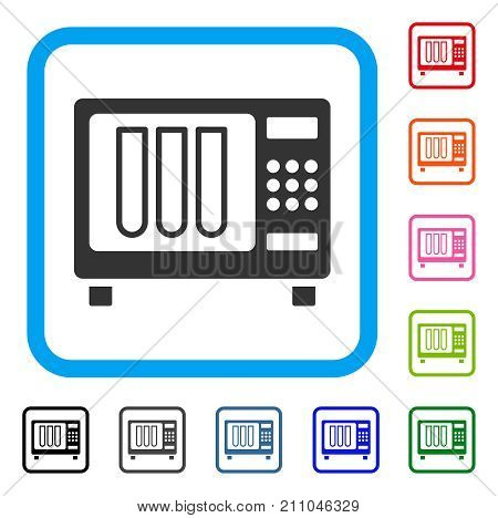 Sterilizer icon. Flat gray pictogram symbol in a light blue rounded rectangle. Black, gray, green, blue, red, orange color variants of Sterilizer vector. Designed for web and app UI.
