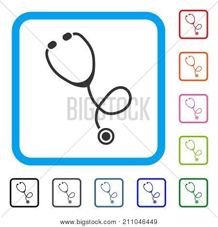 Stethoscope icon. Flat gray iconic symbol inside a light blue rounded frame. Black, gray, green, blue, red, orange color additional versions of Stethoscope vector. Designed for web and application UI.