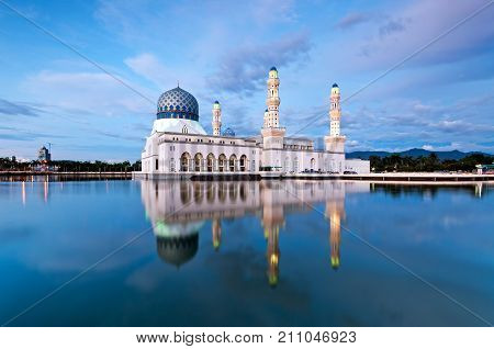 Beautiful Floating Mosque In Kota Kinabalu City, Famous Landmark In Sabah Borneo Malaysia.