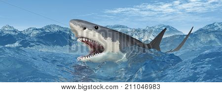 Computer generated 3D illustration with a great white shark in the stormy ocean