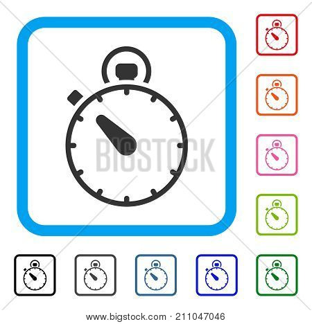 Timer icon. Flat gray iconic symbol in a light blue rounded rectangular frame. Black, gray, green, blue, red, orange color additional versions of Timer vector.