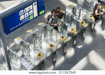 The Hague The Netherlands - August 6 2017: People at the central station The Hague at the OV check points.