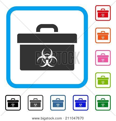 Biohazard Toolbox icon. Flat grey iconic symbol in a light blue rounded rectangle. Black, gray, green, blue, red, orange color variants of Biohazard Toolbox vector. Designed for web and software UI.