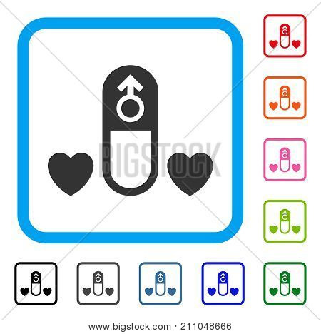 Love Medication Pill icon. Flat gray iconic symbol in a light blue rounded square. Black, gray, green, blue, red, orange color additional versions of Love Medication Pill vector.