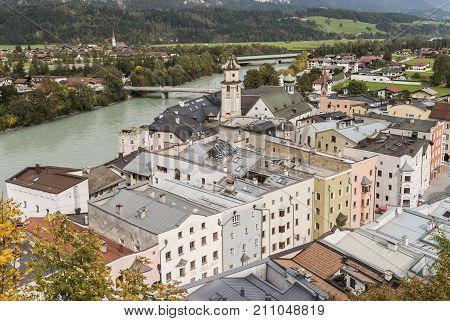 Rattenberg Austria - September 28 2017: Medieval Rattenberg with river Inn and church in Tirol Austria.