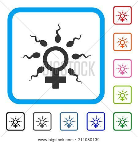 Sperm Fertilization icon. Flat gray iconic symbol inside a light blue rounded rectangle. Black, gray, green, blue, red, orange color versions of Sperm Fertilization vector.