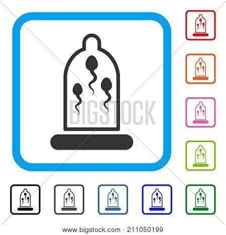 Sperm Prevention Condom icon. Flat gray pictogram symbol in a light blue rounded frame. Black, gray, green, blue, red, orange color variants of Sperm Prevention Condom vector.