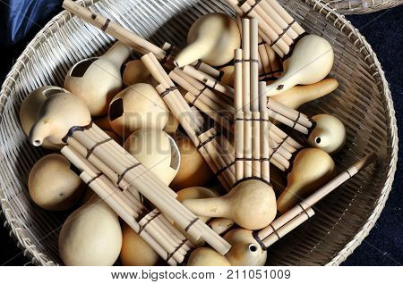 Bunch of sompoton or Sumpotan a mouth organ made from gourd with bamboo pipes in the northern Borneo Sabah Malaysia.