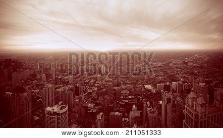 Aerial view of Chicago. Cityscape. Retro photo.
