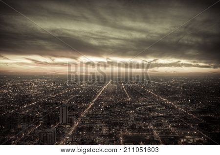 Vintage Cityscape Of Chicago Business District