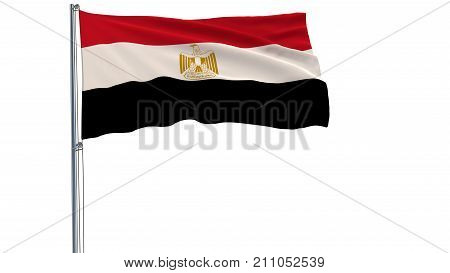 Flag of Egypt on a flagpole fluttering in the wind on a white background 3d rendering
