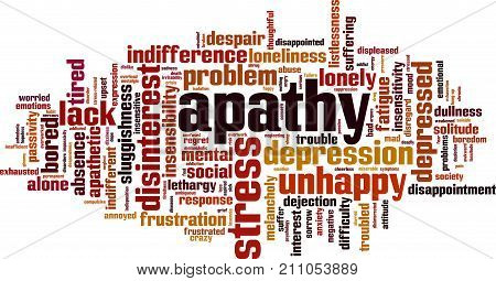 Apathy word cloud concept. Vector illustration on white