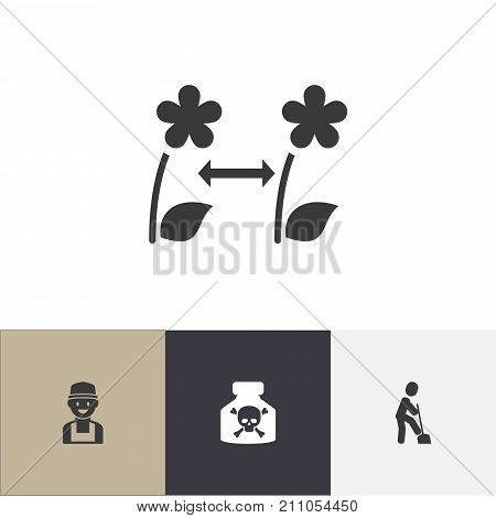 Set Of 4 Editable Agriculture Icons. Includes Symbols Such As Breeding, Farmer, Venom And More