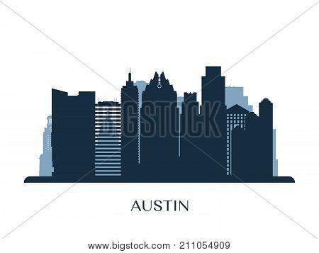 Austin skyline monochrome silhouette. Design Vector illustration.