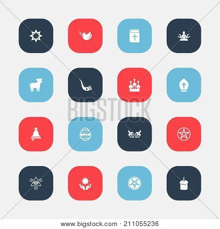 Set Of 16 Editable Faith Icons. Includes Symbols Such As Masonic, Solar, Religious Sewn And More
